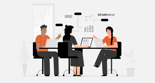 three business managers sitting together with laptops and discussing a chart with the StarNavi logo