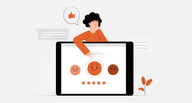 a smiling female with laptop screen pointing at the happy smiley ranked with five stars